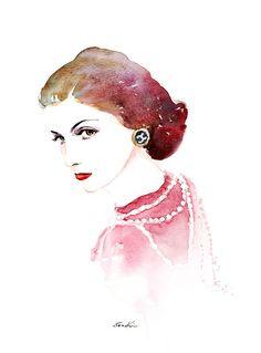 Coco Chanel Aquarell Portrait Gemälde - Pink Red