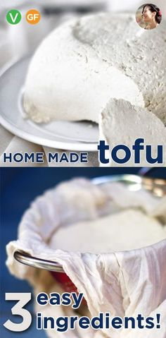 Homemade Tofu is easy to make, cheap, nutritious but it is the nutty flavor, floral scent and creamy texture that will sell you on making your own tofu part of your weekly routine. Homemade tofu with 3 easy ingredients that tastes better and is way cheaper then any store bought. Soak soybeans, make soy milk, add lemon juice! Homemade Tofu, How To Make Homemade, Vegan Feta Cheese, Cocktail Meatballs, Veggie Patties, Aquafaba, Soy Milk, Meatball Recipes, Small Plates