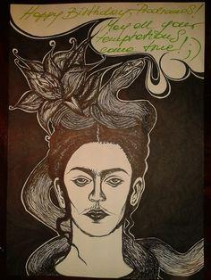 Birthday Frida Kahlo with a snake-temper by chckn