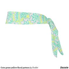 Cute green yellow floral pattern tie headband Train Like A Beast, Sweat Out, Tie Headband, Party Hats, Art Pieces, Unisex, Yellow, Floral, Green