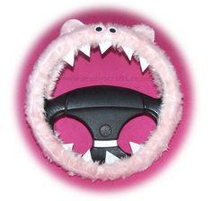 Fuzzy Monster Roar Baby Pink steering wheel cover faux fur fluffy furry car truck van jeep cute googly eyes teeth dragon truck suv fun van