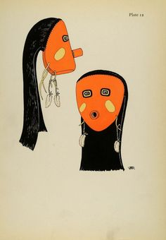 1941 Lithograph Pueblo Indian. Ceremonial Face Mask by Virginia More Roediger (via periodpaper).