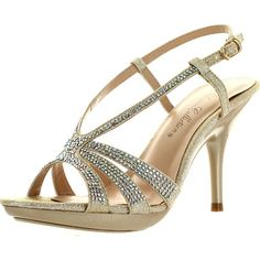 De Blossom Womens Lin-103 Strappy Bridesmaid Prom Party Sandal Pumps (£37) ❤ liked on Polyvore featuring shoes, beige, wide width shoes, party shoes, wedge shoes, strappy shoes and wide wedge shoes