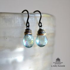 Moonbeams Jewelry by Adity Karande. Handmade Earrings: Fluorite on Sterling Silver and 14K Gold.