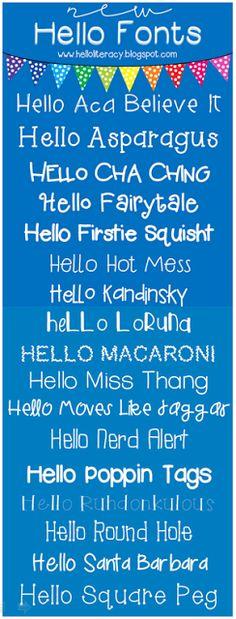 Hello Literacy: 17 New Hello Literacy Fonts - No Fooling!