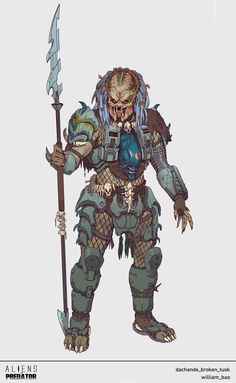 ArtStation - Aliens vs. Predator: Hunt Overseer Broken Tusk, William Bao Predator Comics, Predator Hunting, Alien Vs Predator, Predator Costume, Predator Cosplay, Alien Concept Art, Armor Concept, Character Art, Character Design