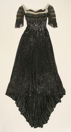 Evening dress House of Worth  Date: 1908–10 Culture: French Medium: silk, jet, sequins Accession Number: C.I.40.106.43