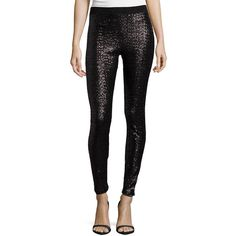 Bisou Bisou Sequin Leggings ($40) ❤ liked on Polyvore featuring pants, leggings, black trousers, nylon leggings, nylon pants, black sequin leggings and bisou bisou pants