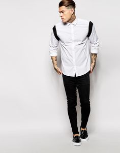ASOS Shirt in Long Sleeve With Shoulder Inserts at ASOS