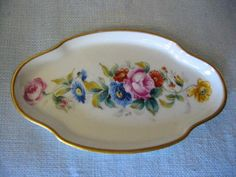 Vintage gorgeous art deco Limoges France miniature tray, hand painted, with beautiful bold and colorful flowers , decorated gilt rim. singed, and stamp marked w