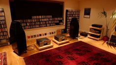CD racks as diffusers, heavy mat to tame floor reflections.