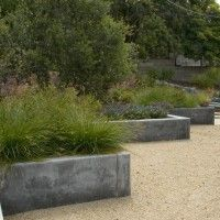 Stupefying Planter Boxes decorating ideas for Arresting Landscape Midcentury design ideas with bocce California contemporary decomposed granite DG drought tolerant exterior lighting hillside integral