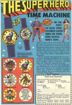 1977 The Super Hero Time Machine ad for vintage watches | Flickr - Photo Sharing!