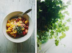 Tomato salsa for fresh herb falafel wraps.