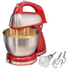Hamilton Beach Classic Hand and Stand Mixer RED *** To view further for this item, visit the image link. (This is an affiliate link) Small Kitchen Appliances, Kitchen Aid Mixer, Cool Kitchens, Gin Mixers, Best Stand Mixer, Pulses Recipes, Noodle Maker, Best Electric Shaver, Stainless Steel Bowl