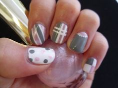gray, white and pink nails by Moochiemomma Pink Grey Nails, Striped Nails, White Nails, Grey Nail Designs, Beautiful Nail Designs, Art Designs, Design Ideas, Get Nails, Love Nails