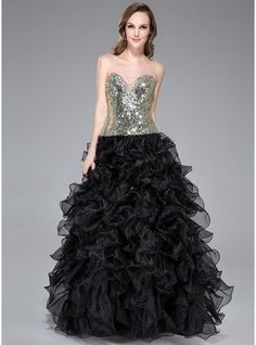 Ball-Gown Sweetheart Floor-Length Organza Sequined Prom Dress With Beading Cascading Ruffles