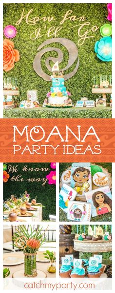You don't want to miss this incredible Moana birthday party! The cookies are fabulous! Luau Birthday, 6th Birthday Parties, Birthday Party Decorations, Birthday Ideas, Moana Birthday Party Ideas, Moana Party Decorations, Hawai Party, Luau Party, Bash