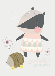 Vicky Riley 'Postcard Badger with Hedgehog'