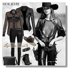 """""""Holiday Style: Leather Pants"""" by water-polo ❤ liked on Polyvore featuring mode, MANGO, Alexander McQueen, rag & bone, Balmain, The Row, Gucci, Leather, polyvoreeditorial et holidaystyle"""