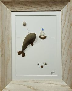 """When friends meet... 8"""" x 10"""" made using pebbles and sea glass collected on the shores of Lake Michigan. #art #boats #whale #pebbles #lakemichigan #michigan #sailboat #ocean #deepsea #fish #beachglass #seaglass"""