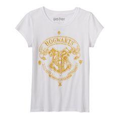 "Girls 7-16 Harry Potter ""Hogwarts"" Glitter Graphic Tee, White"