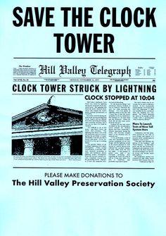 Panfleto Regreso al Futuro. Save The Tower Clock