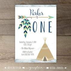 Tribal Birthday Party Invitations • invites • arrows feathers tribal native teepee • first birthday • DIY Printable