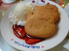 hello kitty pancakes made by the hello kitty pancake maker!