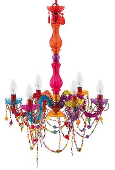 Multi-coloured Chandelier. Matches every colour theme!