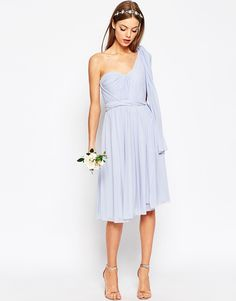 Image 1 ofASOS WEDDING Multiway Mesh Midi Dress