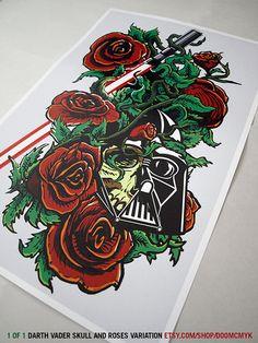Darth Vader Skull and Roses by DoomCMYK.deviantart.com on @deviantART