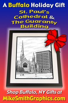 Highly detailed drawing featuring St. Paul's Cathedral/Guaranty Building in Buffalo, NY by Western NY artist Michael Smith. Shop for unique artwork in a variety of subjects at MikeSmithGraphics.com. Limited Edition Prints, Wall Art Prints, Buffalo, Cathedral, Ink, Drawings, Building, Unique, Artist