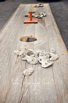 Oyster Table- South Carolina Joggling Board Company- perfect for Edisto Seafood Broil, Seafood Boil Party, Joggling Board, Shucking Oysters, Summer Barbecue, Bbq, Small Fireplace, Oyster Bar, Grilling Gifts