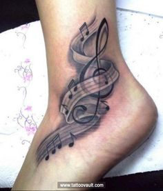 Check out Music tattoo on foot. We add new tattoo designs on a daily basis. Some of the coolest tattoos you will ever see.
