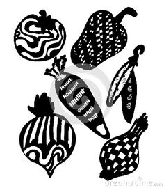 Abstract vegetables on black and white . Hand drawn live traced illustration.