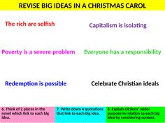 A Christmas Carol Final Revision lesson of big ideas using the top 50 quotations. Christmas Carol Quotes Gcse, A Christmas Carol Revision, English Gcse Revision, Guided Reading Activities, Student Reading, Teaching Resources, Read More, Quotations, Novels