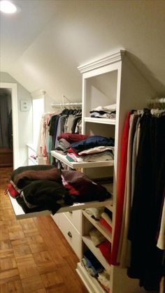 Closet Design with Sloped Ceiling . Closet Design with Sloped Ceiling . Closet Slanted Ceiling Closet Ideas for Closets with Attic Bedroom Designs, Attic Bedrooms, Attic Design, Small Bedrooms, Attic Bedroom Ideas Angled Ceilings, Attic Master Bedroom, Loft Design, Girls Bedroom, Attic Closet