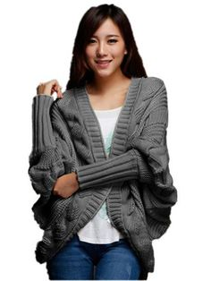 V28® Women Thick Loose Asym Hem Batwing Cable Knit Cardigan Sweater (Dark Grey) One size, fit US 6-12 $29.99