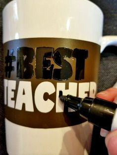 how to make a sharpie mug by using a Cricut stencil. #sharpie #stencils