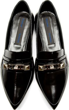 Proenza Schouler: Black Leather Signature Hardware Pointed Loafers