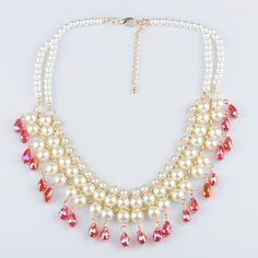 Plastic #Pearl #Necklace, with #crystal, more colors.
