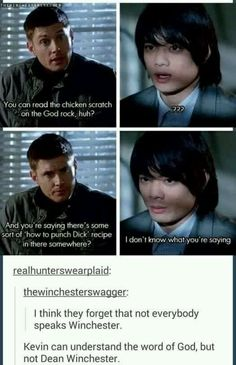 Kevin  can understand the word of God but not Dean Winchester