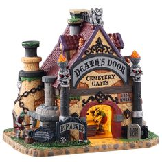 Lemax decorative villages are a holiday tradition made with old-world craftsmanship, combined with new-age technology. Halloween Village, Halloween Decorations, Custom Gates, Light Building, Iron Gates, Stone Carving, Holiday Traditions, Cemetery, A Team