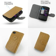 PDair Ultra Thin Leather Case for BlackBerry Q10 - Book Type (Brown/Crocodile Pattern)