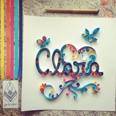 Clara Azul Rosa Amarelo Laranja Cores Coração Heart Borboleta Quilling Paperart