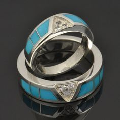Turquoise wedding ring set with white sapphires in sterling silver by Hileman Silver Jewelry.