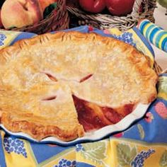 Peach Plum Pie - When I want to impress guests, this is the pie I prepare. Peaches, plums and a bit of lemon peel are a refreshing trio that wakes up taste buds. It's a family favorite that's requested often. -Susan Osborne, Hatfield Point, New Brunswick Yummy Recipes, Cake Filling Recipes, Dessert Recipes, Yummy Food, Plum Pie Recipe, Peach Pie Recipes, Cake Fillings, No Bake Pies, Just Desserts