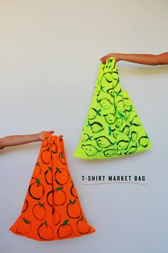 DIY TUTORIAL: t-shirt market bag {make this for trick-or-treat bags} CUTE PAINT IDEA