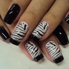 zebra-stripe-french-manicure-with-black-tips